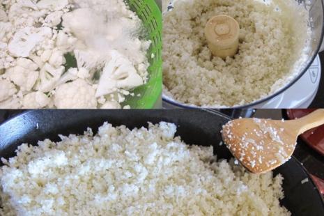 """Этапы приготовления """"риса"""" из цветной капусты"""